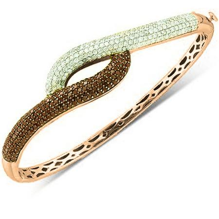 White Gold Round Diamond Bangle (3.00 Carat (ctw) 18K Rose Gold Round White & Red Diamond Ladies Fashion Bangle Bracelet 3 CT)