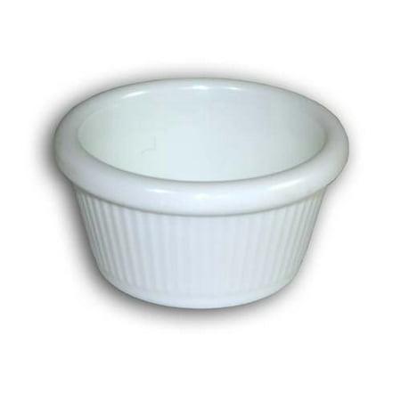 Clipper 2 oz. Melamine Ramekin; Textured- Fluted; Shiny White; Set of 72; Stackable; Dishwasher Safe