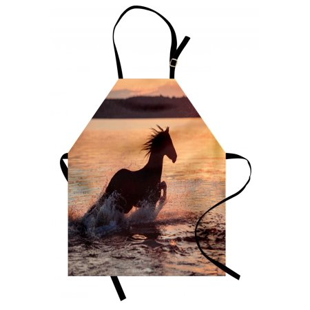 Horse Apron (Equestrian Apron Horse Sea at Sunset Time Horizon Speed Exotic Nature Animal Picture Art, Unisex Kitchen Bib Apron with Adjustable Neck for Cooking Baking Gardening, Salmon Dark Brown, by)