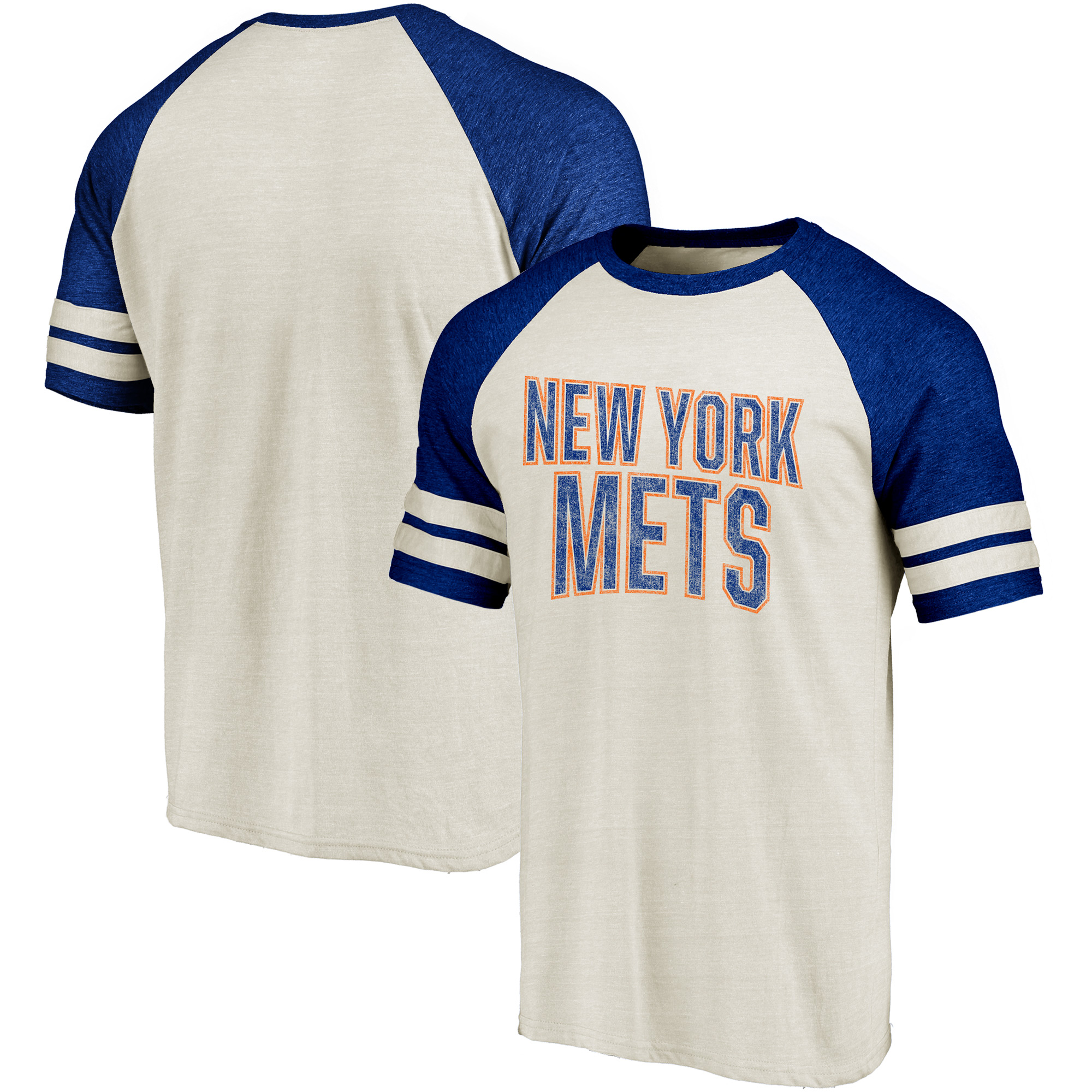 New York Mets Fanatics Branded True Classics Colorblock Raglan T-Shirt - Cream/Royal