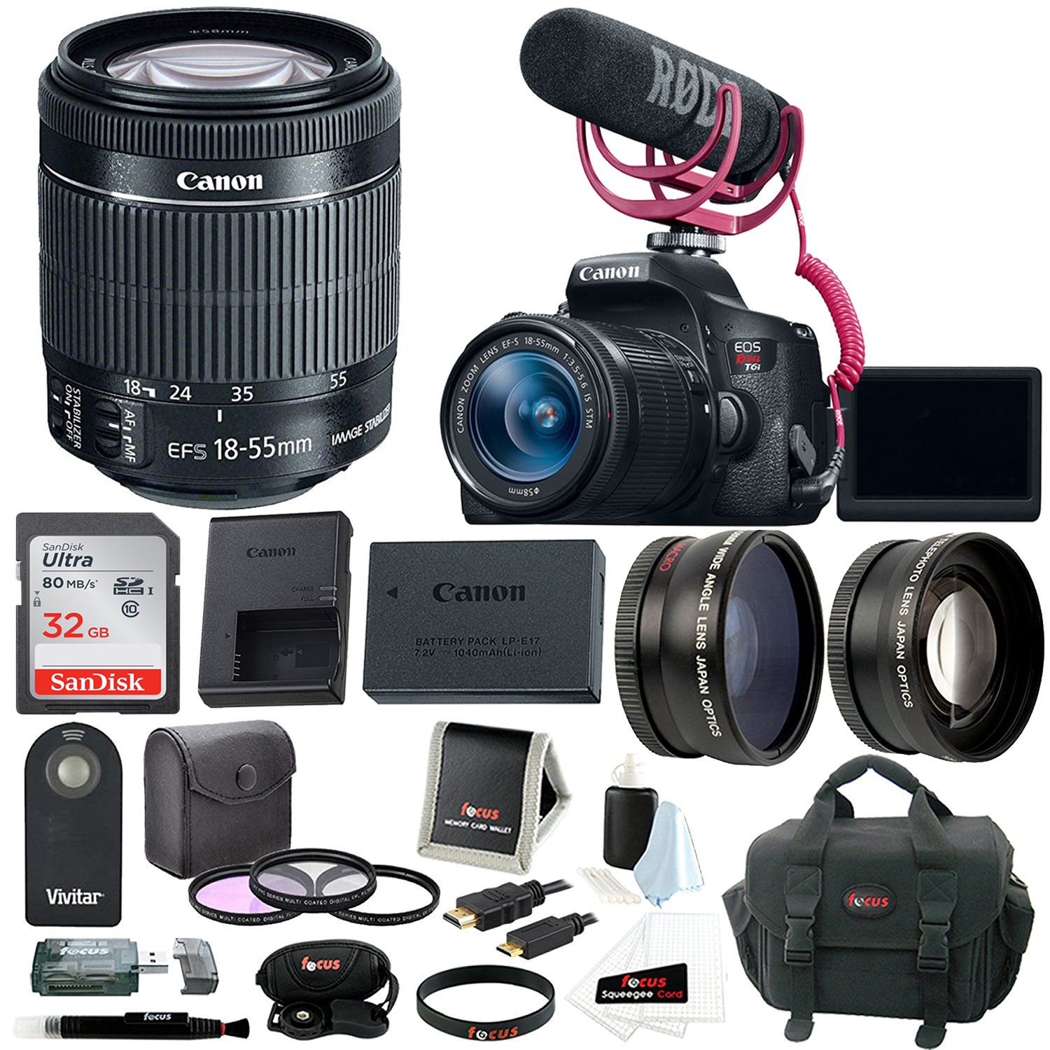 Canon EOS Rebel T6i DSLR Camera with 18-55mm Lens + Video Creator Kit + Accessory Bundle