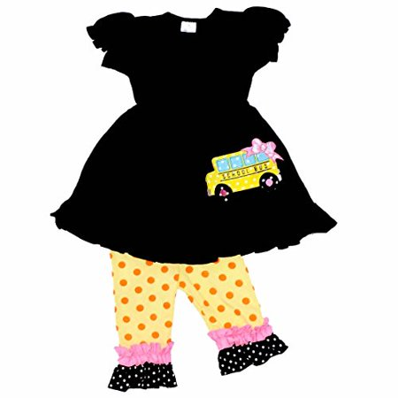 Unique Baby Girls Back to School Bus Tunic Boutique Outfit (3T/S, Black) (Boutique For Toddlers)