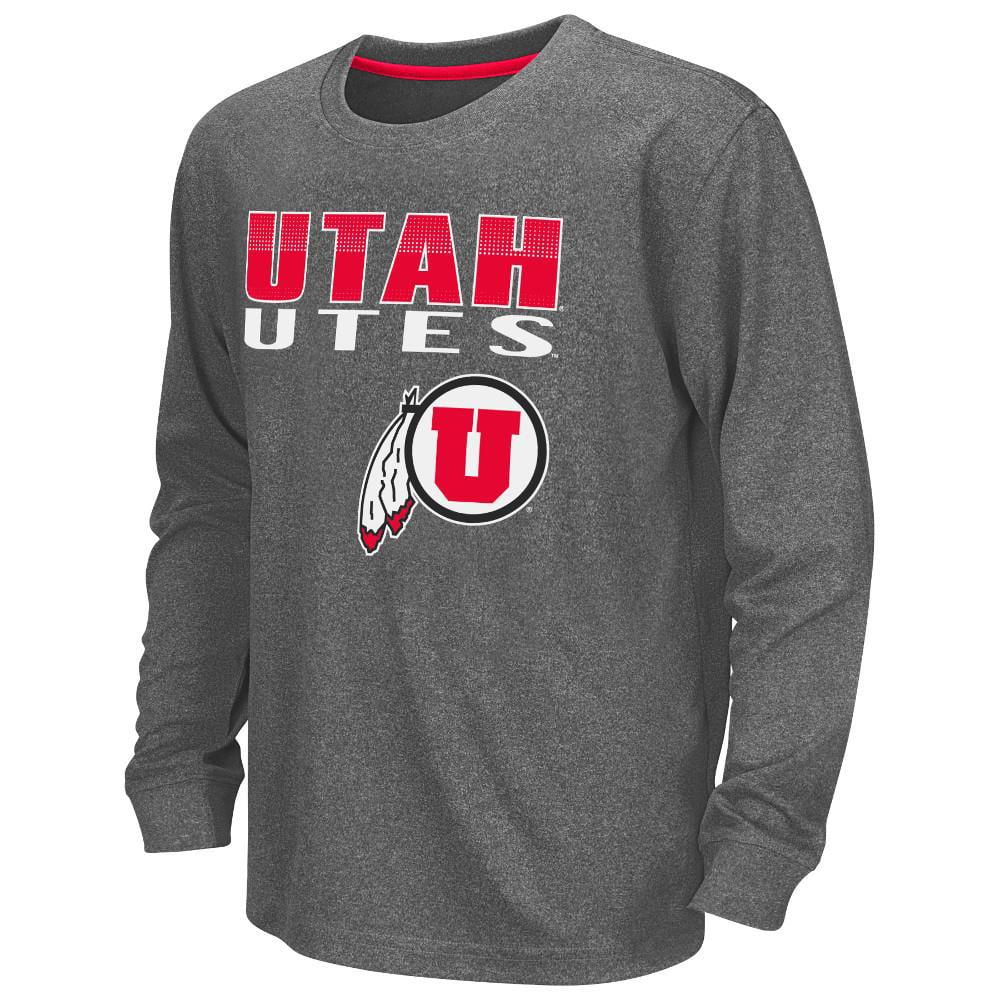 Youth NCAA Utah Utes Long Sleeve Tee Shirt (Heather Charcoal)
