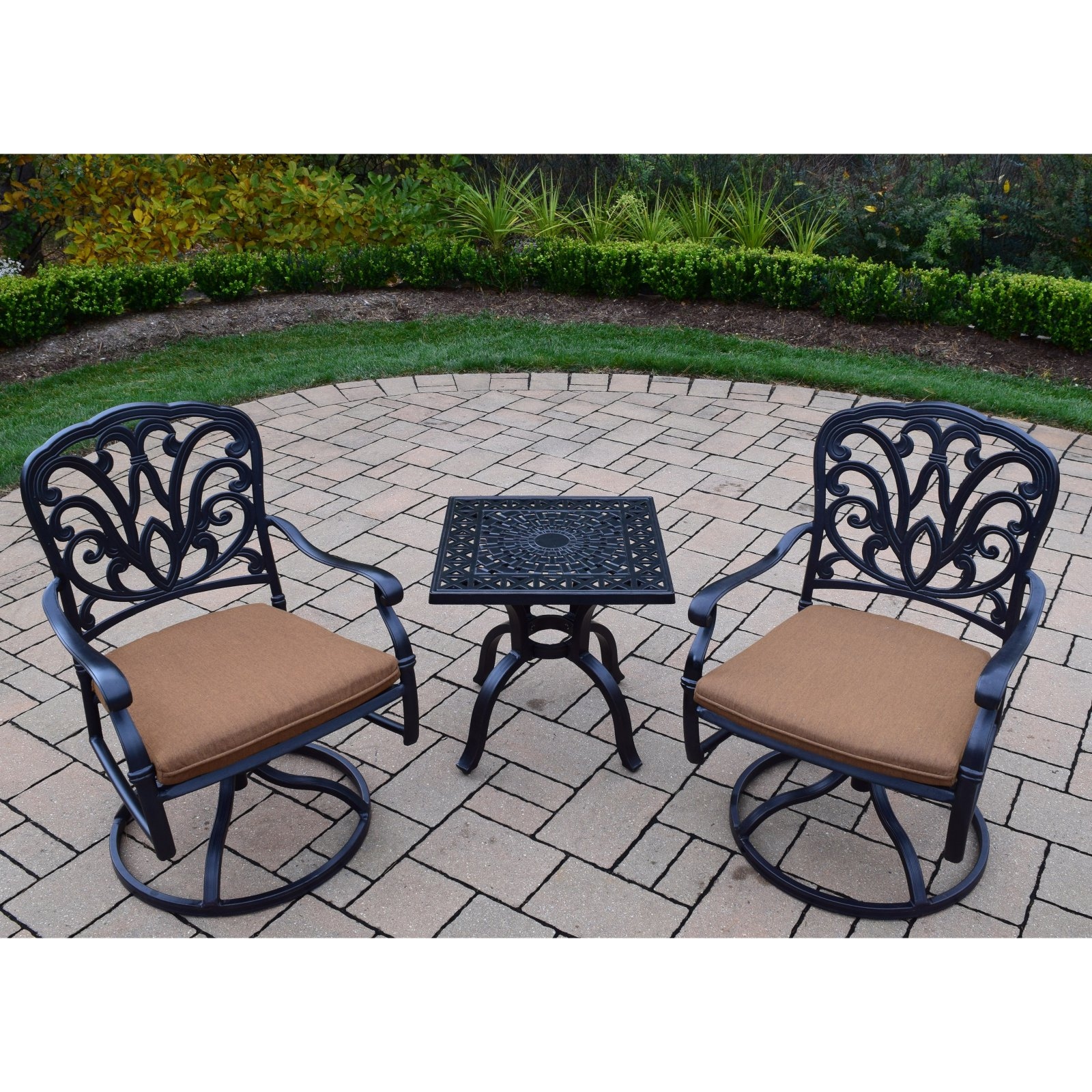 Oakland Living Hampton Swivel Rocker 3 Piece Small Space Set