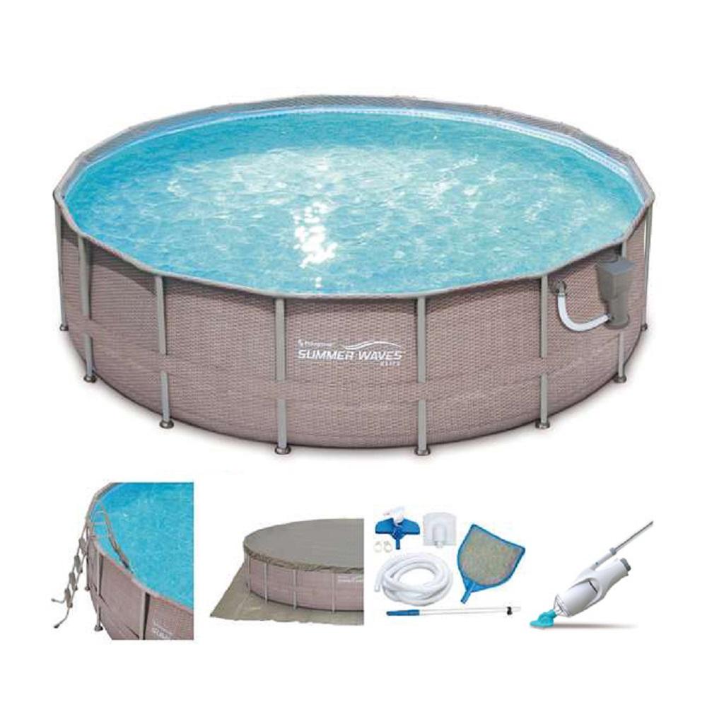 """Summer Waves Elite Wicker Print 16' x 48"""" Frame Pool Set w Pump + Kokido Cleaner"""