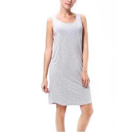 SAYFUT Women's Beach Casual Tank Tops Dress Modal Cotton Knee-Length Sundresses Stretchy Slim Fit Vest Dresses Black/Gray Cotton And Modal Tank Top Splendid