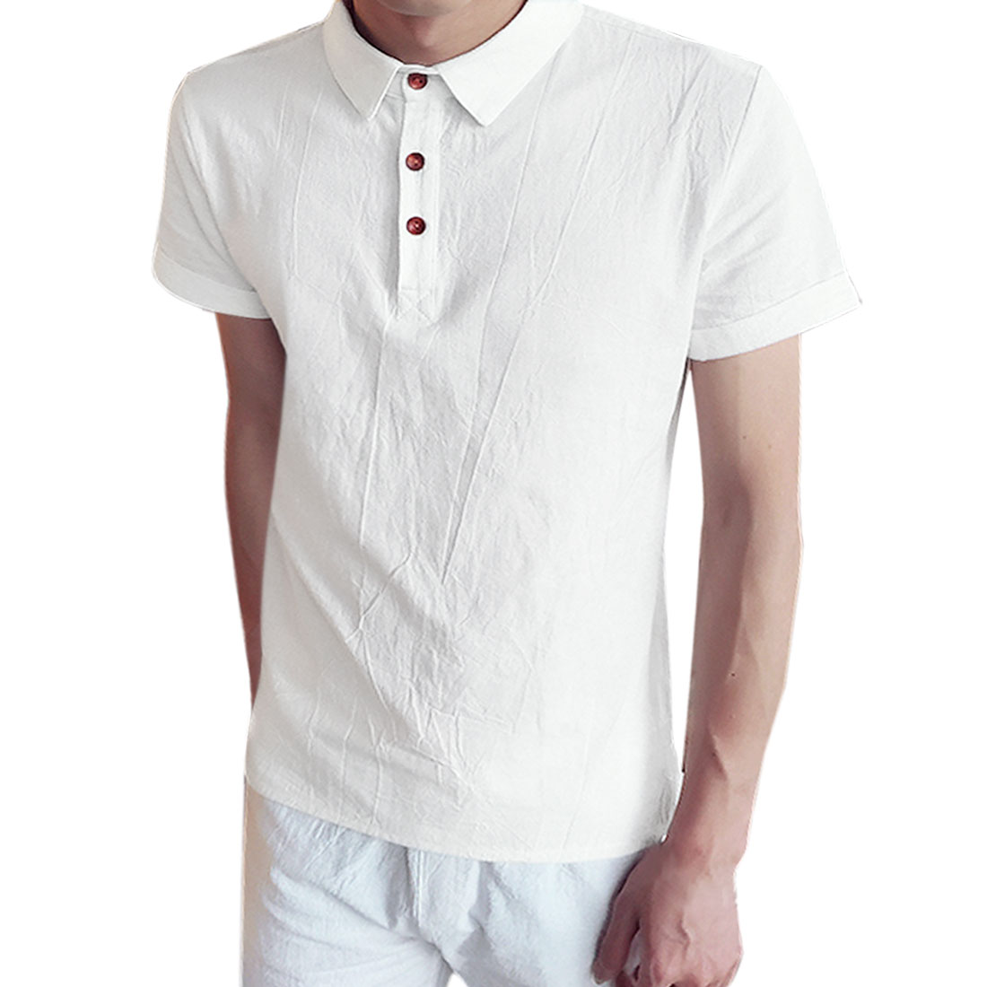 Azzuro Men's Collared Short Sleeves Half Placket Polo Shirt White (Size M / 38)