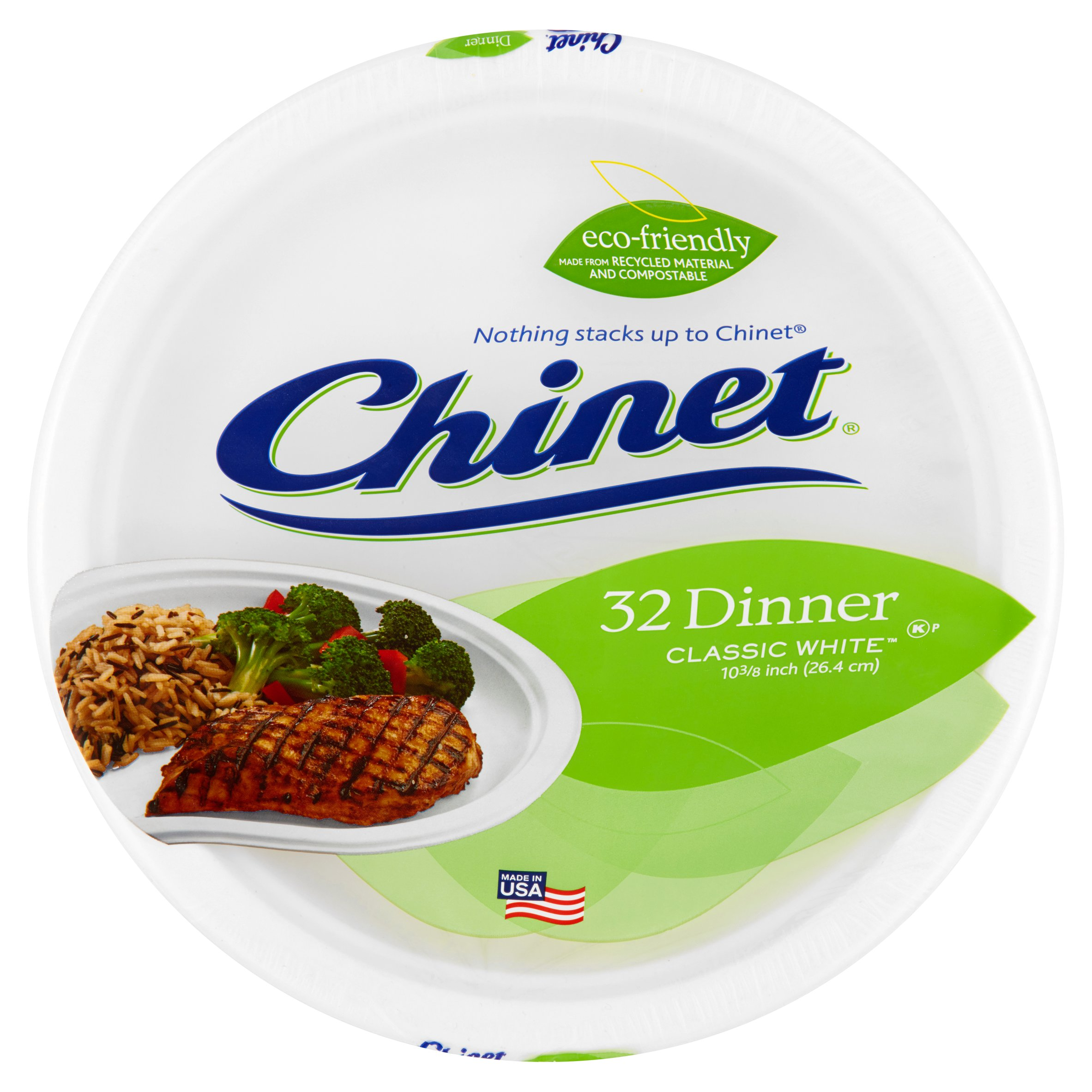 """Chinet Classic White Dinner Paper Plates, 10 3/8"""", 32 Count"""