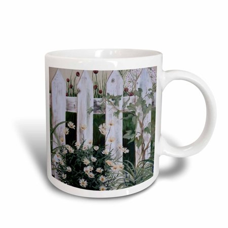 3dRose Weathered White Picket Garden Fence with Daisies and Vines, Ceramic Mug, 11-ounce