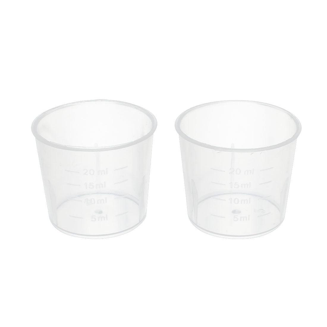 2 Pcs 20mL Laboratory Transparent Plastic Liquid Container Measuring Cup Beaker by Unique-Bargains