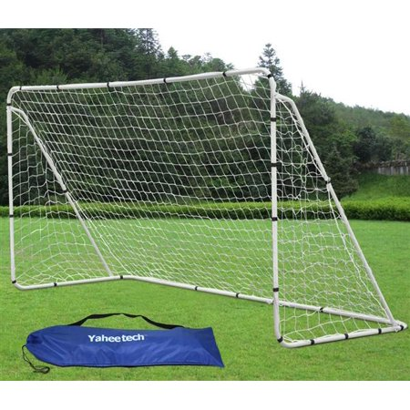 - Yaheetech 7' x 5' Portable Soccer Goal with Net and Carry Bag Steel Tubes School Sports Training White