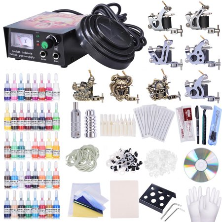 Complete Tattoo Kit 8 Machine 40 Inks Power Supply 10 Wraps Grip Tip Foot Switch ()