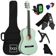 Best Choice Products 38in Beginner Acoustic Guitar Starter Kit w/ Case, Strap, Digital Tuner, Strings - SoCal Green
