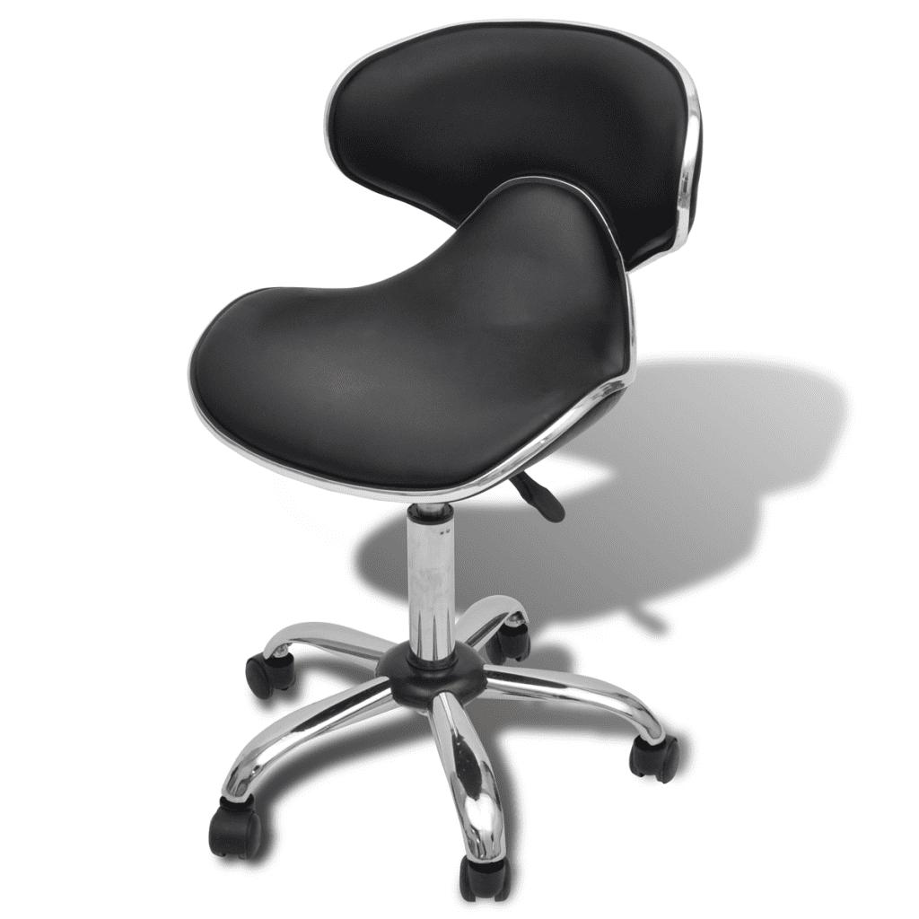 Salon Spa Stool With Backrest Curved Design Black