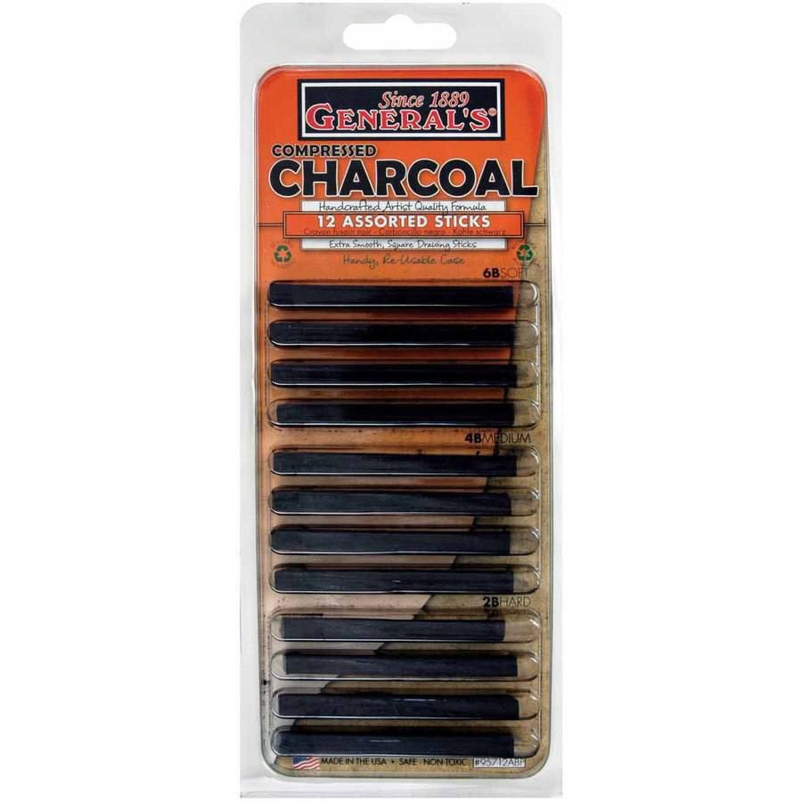 "General Pencil Extra Smooth Square Compressed Charcoal Assortment, Assorted Tip, 0.25"" x 3"", Black, Pack of 12"