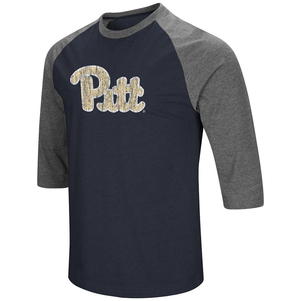 Mens Pittsburgh Panthers 3/4 Sleeve Raglan Tee Shirt - S