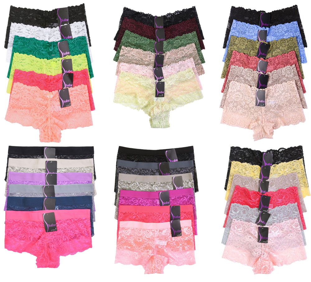 6 Pack of Women Hipster Panties Floral Lace Boyshorts Cheeky Underwear Bikini