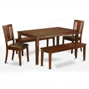 East West Furniture Capris 5 Piece Rectangular Dining Table Set with Buckland Faux Leather Seat Chairs and Benches