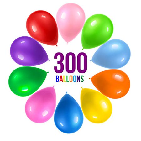 Rainbow Helium Balloons (Prextex 300 Party Balloons 12 Inch 10 Assorted Rainbow Colors - Bulk Pack of Strong Latex Balloons for Party Decorations, Birthday Parties Supplies or Arch Decor - Helium)