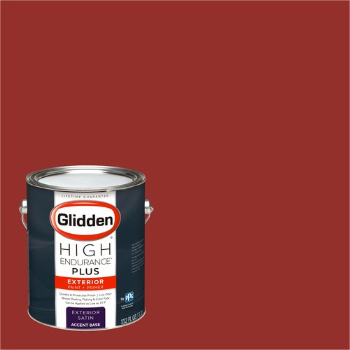 Glidden High Endurance Plus Exterior Paint and Primer, Crimson Red, #31YR 10/591