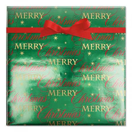 - Merry Christmas Wishes Foil Rolled Gift Wrap - 38 sq ft. metallic wrap