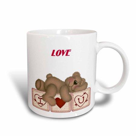 3Drose Adorable Teddy Bear On I Luv U Blocks  Ceramic Mug  15 Ounce