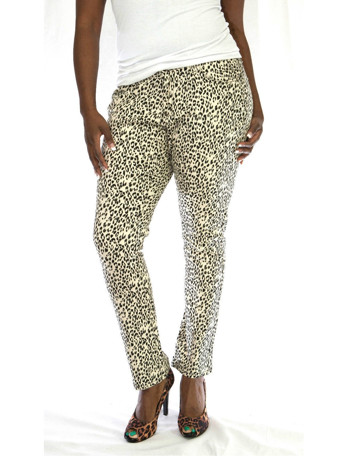 7d412ea0c36 JEANS COLONY - LP Womens Plus Size Leopard Cheetah Print Stretch Twill  Denim Jeans Skinny Pants - Walmart.com