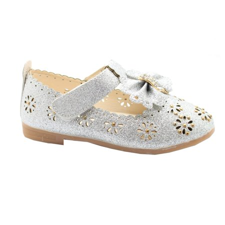 Kids Floral Doc Martens (Little Girls Silver Glitter Floral Cut-Outs Scallop Bow Dress)
