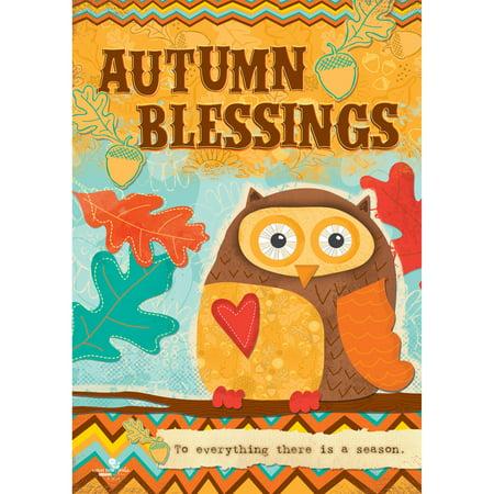 Colorful Garden Autumn Blessings Owl Garden Flag