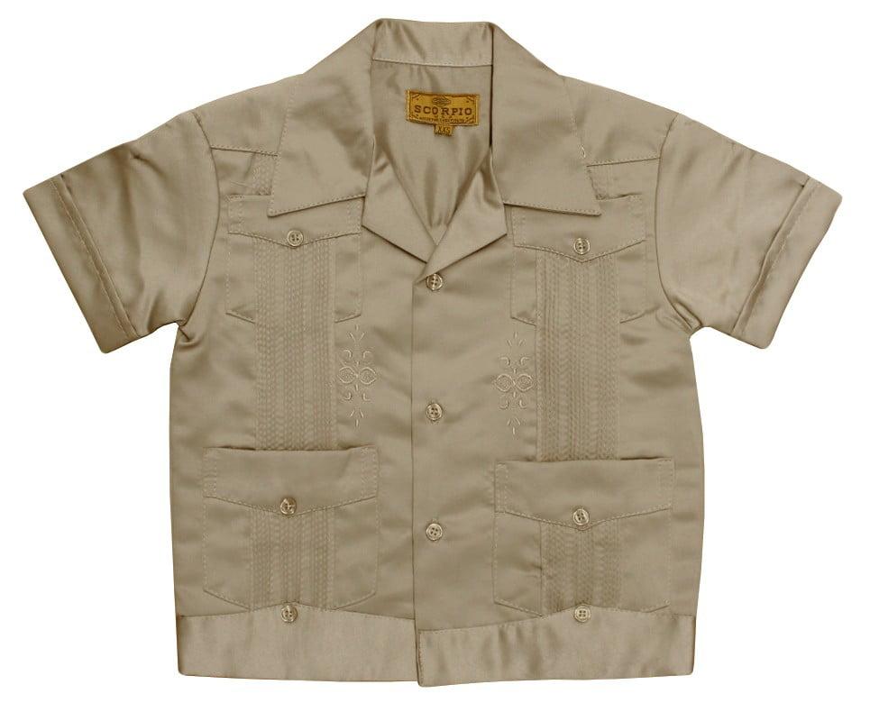 Guayabera Beige Kids Toddler Wedding Baptism Button-Up Casual Shirt /& Short