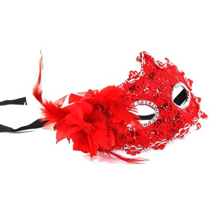 Women's Flower Feather Lace Eye Mask Masquerade Ball Party Halloween Costume (Red) New - Red Feather Mask