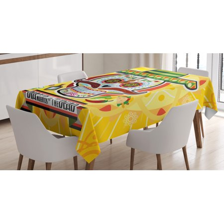 Day Of The Dead Decor Tablecloth, Mexican Sugar Skull with Tacos and Chili Pepper November 2nd Colorful Art, Rectangular Table Cover for Dining Room Kitchen, 52 X 70 Inches, Yellow, by Ambesonne (Colorful Sugar Skull)