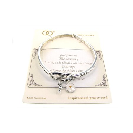 Beautiful Serenity Prayer with Cross & Mustard Seed Charms Silver Tone Stretch - Prayer Box Bracelet