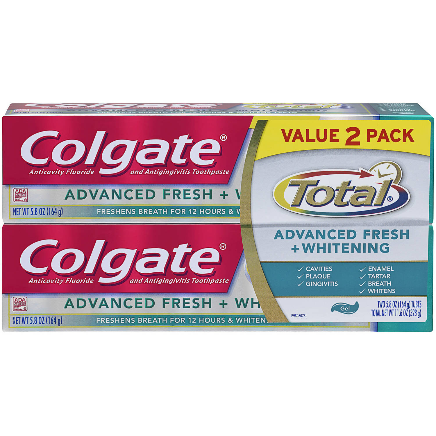 Colgate Total Advanced Fresh + Whitening Gel Toothpaste, 5.8 oz, (Pack of 2)