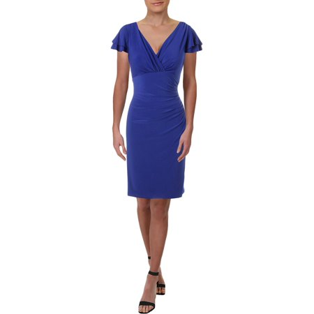 October Fest Dress (Lauren Ralph Lauren Womens Ruched Flutter Sleeves Party Dress Purple)