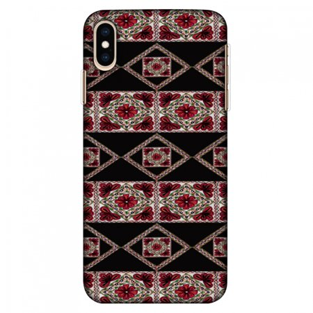 iPhone XS Max Case Tempered Glass Combo, Ultra Slim Designer Back Cover with Tempered Glass Screen Protector for iPhone Xs Max (2018) - Kutch Embroidery - Deco Patterns - Red - Free Glass Deco Patterns
