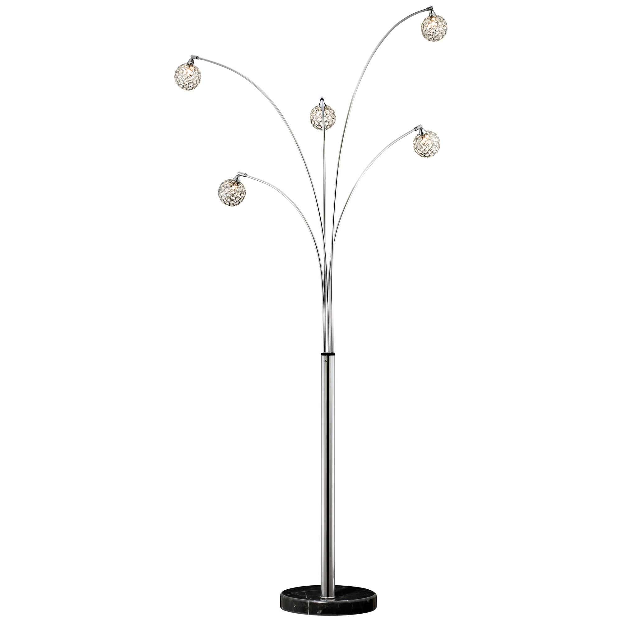 Possini Euro Design Mid Century Modern Arc Floor Lamp 5 Light Chrome Marble Base Crystal Ball Shades Foot Dimmer For Living Room Walmart Com Walmart Com