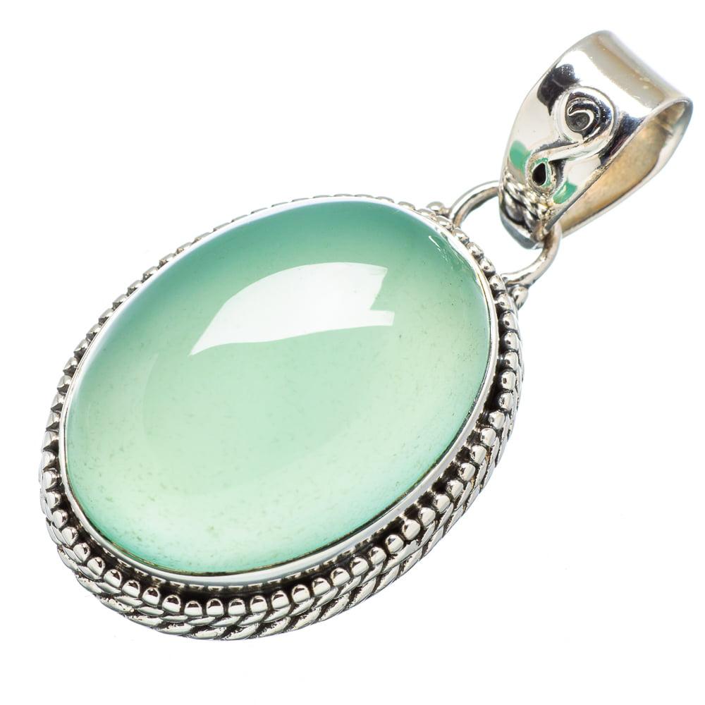 """Ana Silver Co Prehnite 925 Sterling Silver Pendant 1 3/8"""" PD614024"""