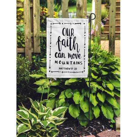 JSDART Our Faith Can Move Mountains on Bible Verse Hand Lettered Garden Flag Decorative Flag House Banner 12x18 inch - image 1 de 2