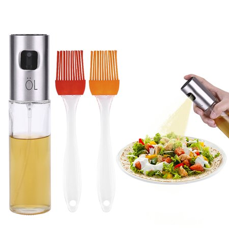 HDE Olive Oil Sprayer and Cooking Mister Food Grade Glass Bottle with Stainless Steel Clog Free Spray Top For Oil Vinegar Soy Sauce Wine Water Juices and More with Included Brushes