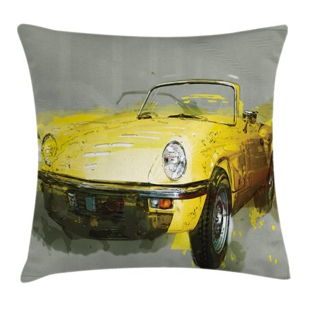 Car Decor Throw Pillow Cushion Cover, Retro Classic 50s 60s Cuban American Watercolor Big Cosy Car Print Picture, Decorative Square Accent Pillow Case, 18 X 18 Inches, Yellow and White, by Ambesonne - 50s Decor