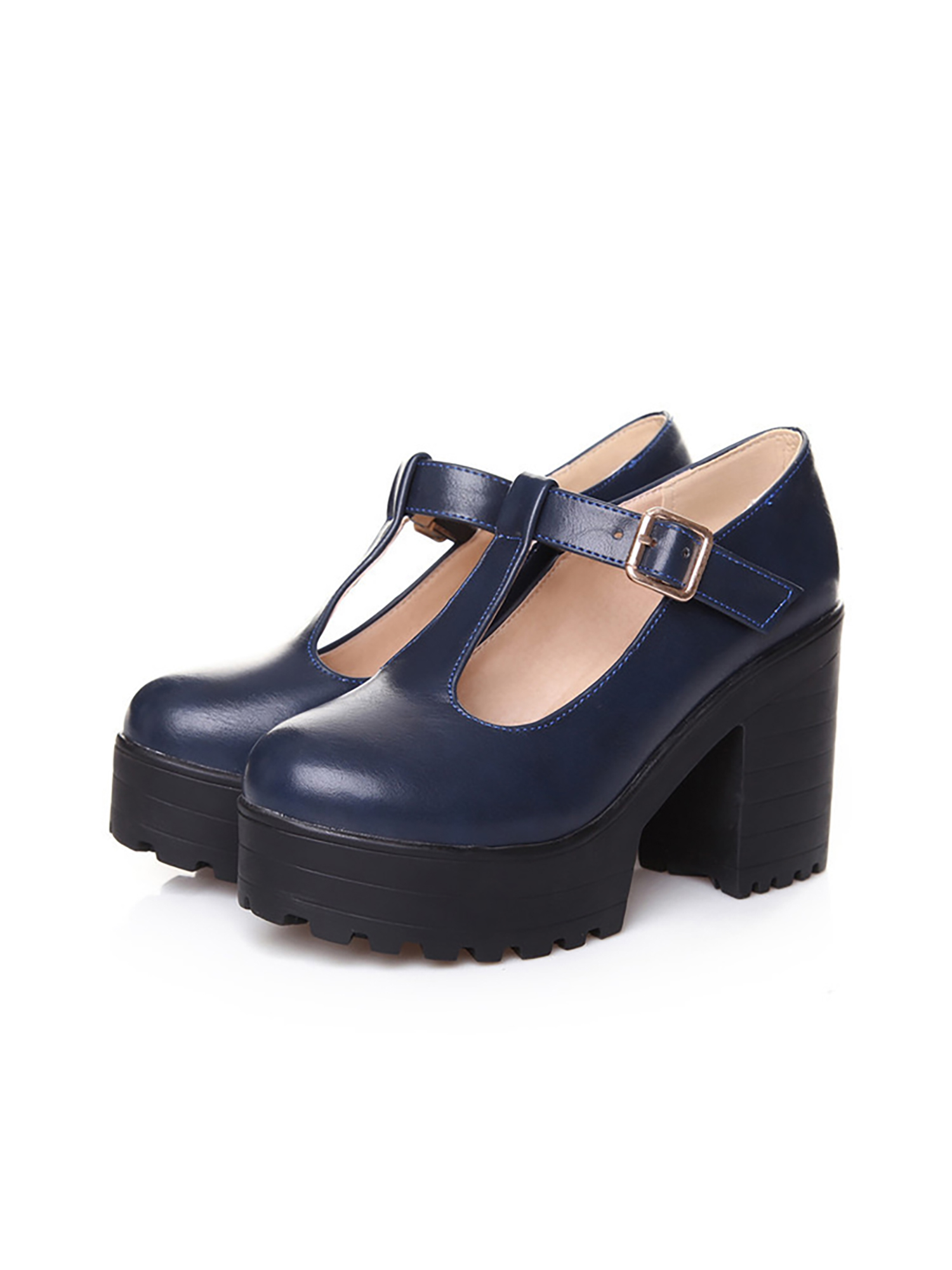 Details about  /Women Mary Jane Shoes Ankle Strap Block Mid Heels Pumps Round Toe Casual Sandals
