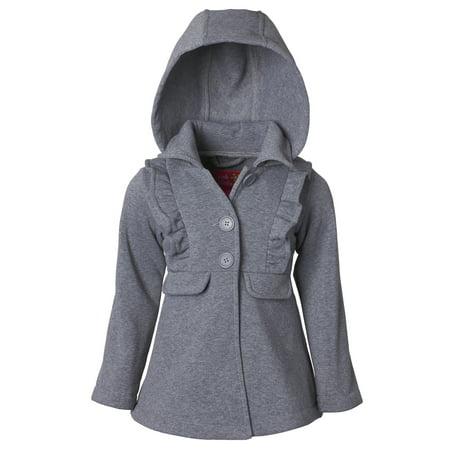 ad368a79bb49 Ruffled Fleece Hooded Jacket (Little Girls) - Walmart.com
