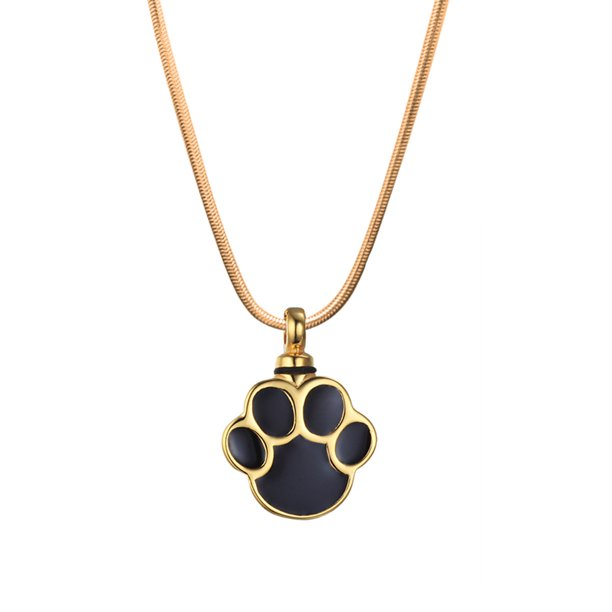 Anavia Gold Dog Paw Print Pet Cremation Urn Necklace For Ashes Memorial Necklace Cremation Jewelry Keepsake Ashes Free Funnel Kit Walmart Com Walmart Com