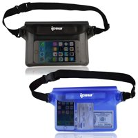 IPOW Waterproof Pouch Set of 2 Large Heavy Duty Dry Pouches  Adjustable Waistband  For Men, Women or Kids  Protect Cash, Credit Cards, Keys Smartphones