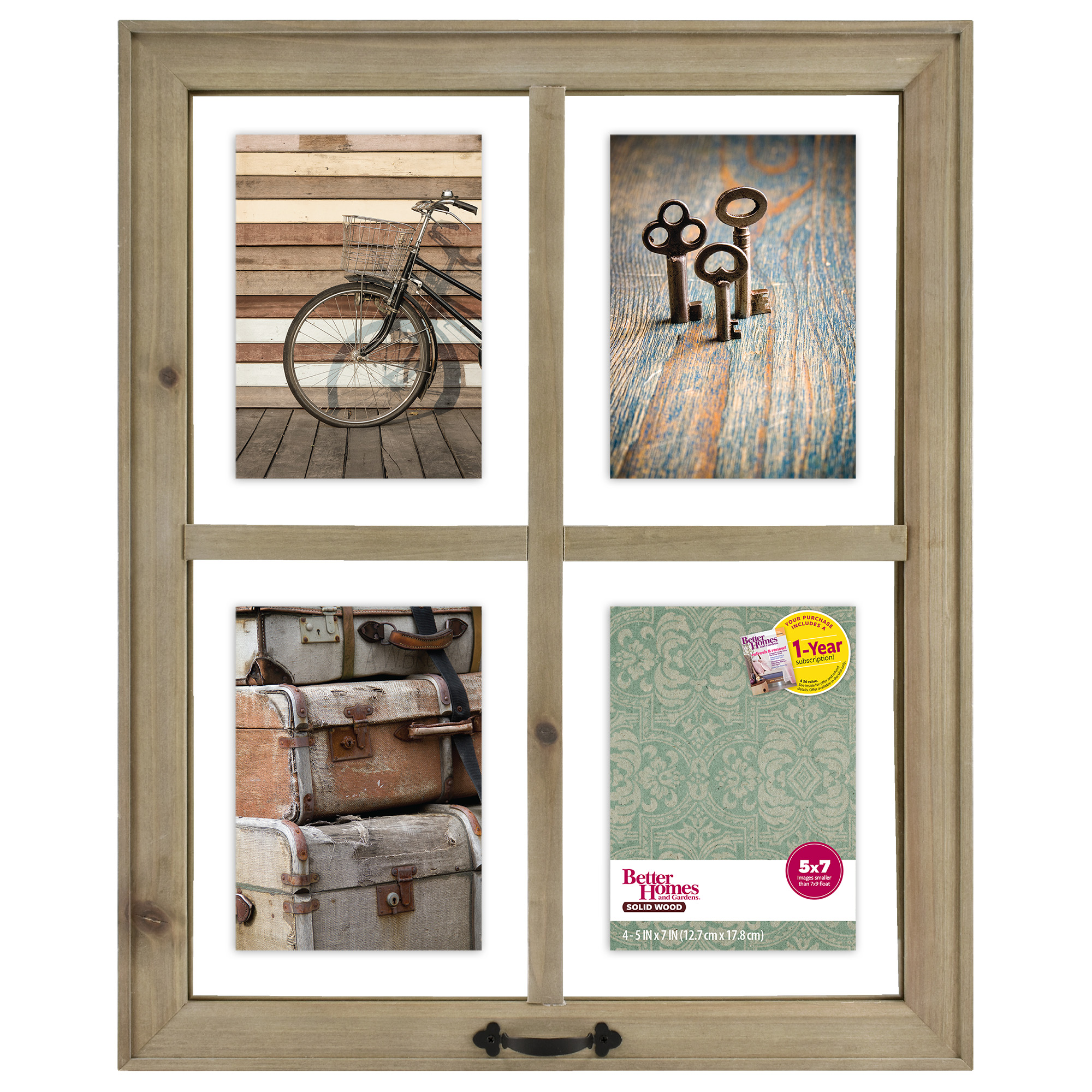 Better Homes & Gardens 4-Opening Rustic Windowpane Collage Frame