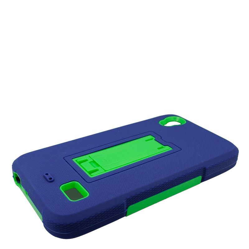 Huawei Pronto phone case by Insten Symbiosis Silicone Dual Layer Rubber Hard Case w/stand For Huawei Pronto - Blue/Green - image 3 de 4