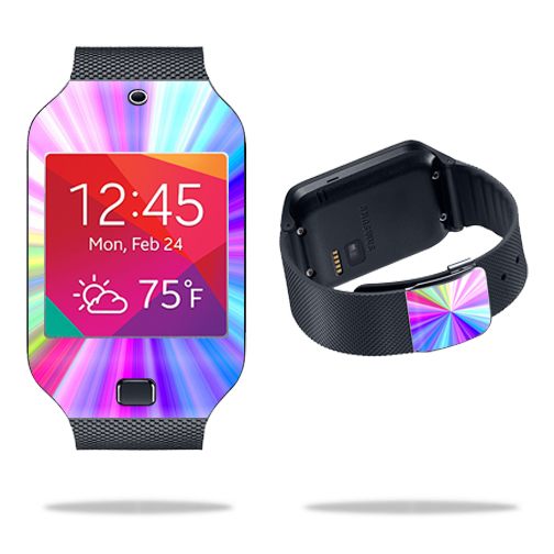 Mightyskins Protective Vinyl Skin Decal Cover for Samsung Galaxy Gear 2 Neo Smart Watch wrap sticker skins Rainbow Zoom