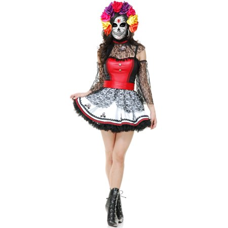 DIA DE LOS MUERTOS DRESS ADULT WOMENS COSTUME ()