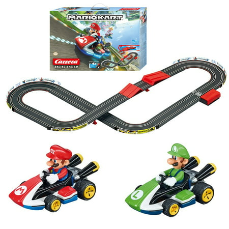Carrera Racing System Battery Operated 1:43 Scale Mario Kart' 14-ft. Slot Car Race Track Set w/ Jump Ramp featuring Mario versus (Back To The Future Slot Car Track)